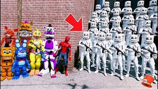 CAN SPIDER-MAN & THE ANIMATRONICS STOP THE NEW FORTNITE MARSHMELLO ARMY? (GTA 5 Mods FNAF RedHatter)