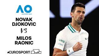 Novak Djokovic v Milos Raonic | Australian Open 2021 - Highlights | Tennis | Eurosport