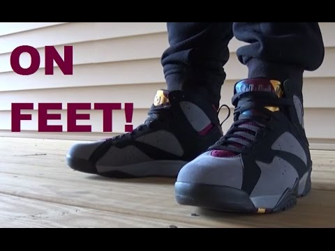 sale retailer 82c84 5fd0a Air Jordan 7 Bordeaux Sneaker On Feet