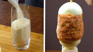 Pour 1 Bag Of Rice In A Glass And Start Stacking Ground Beef & Onions