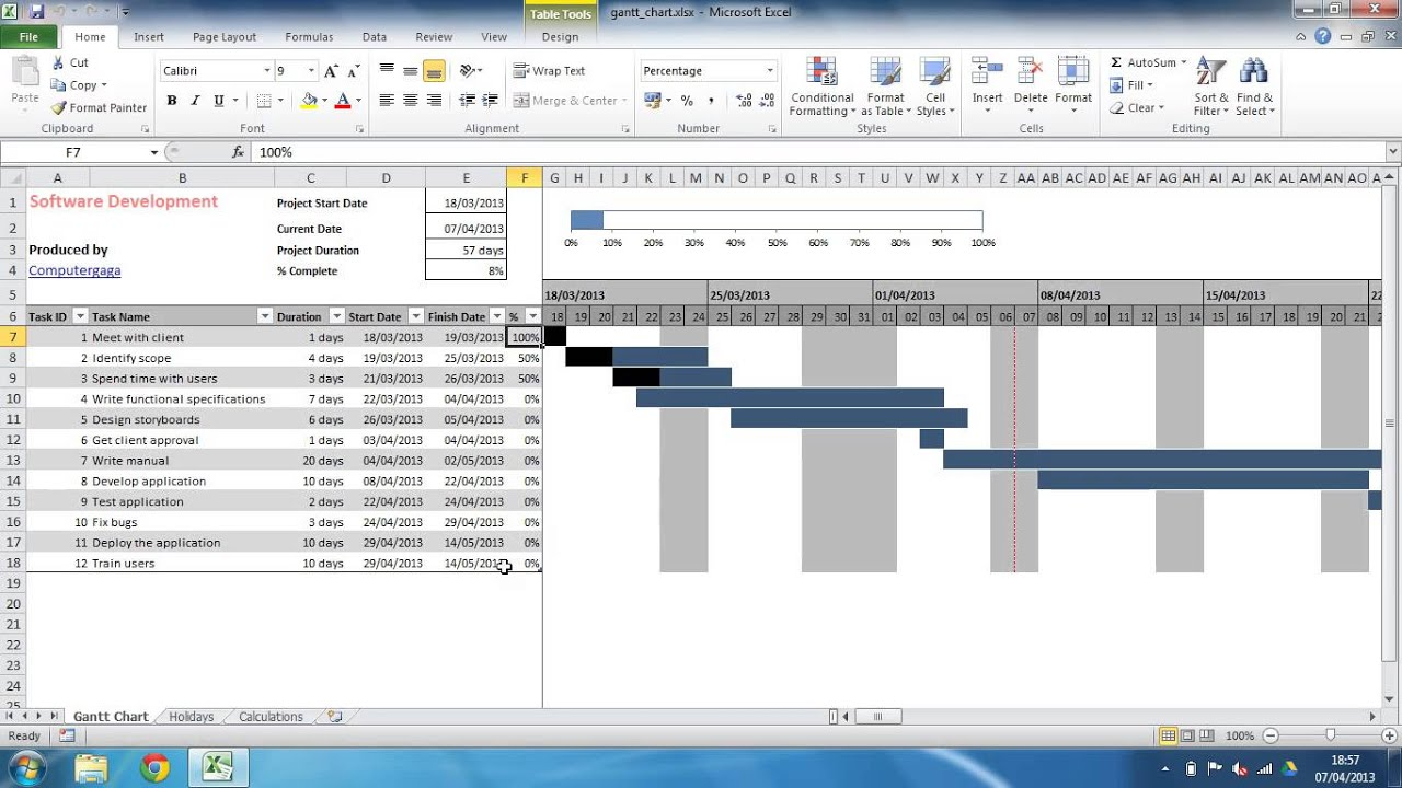 Excel Gantt Chart Template - YouTube