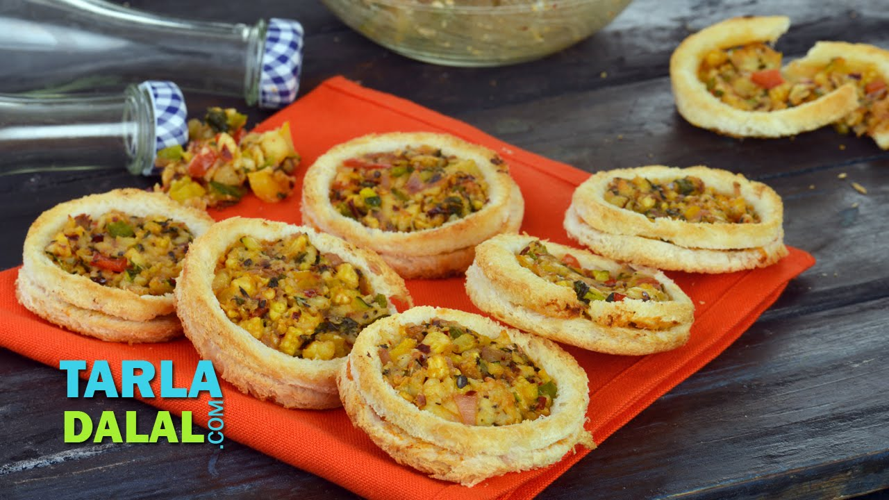 Cheesy vegetable discs bread baked appetiser by tarla dalal youtube forumfinder Images