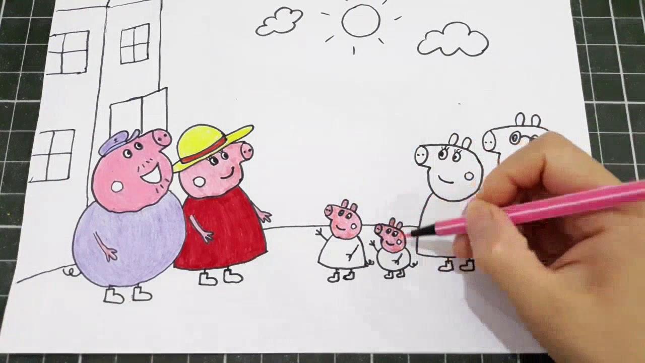 Cách vẽ và tô màu gia đình heo peppa    Heo peppa đến thăm ông bà   bé học vẽ