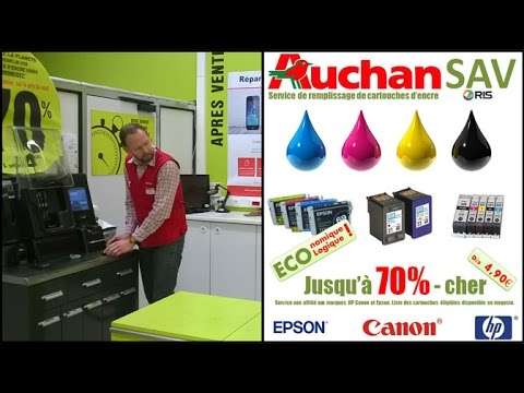 auchan france recharge de cartouches d encre services youtube. Black Bedroom Furniture Sets. Home Design Ideas