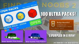 OPENING 100 ULTRA PACKS - 2 PURPLES IN A ROW! - ROBLOX Find the Noobs 2