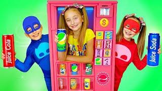 Sasha and Max superheroes vending machine kids toy story