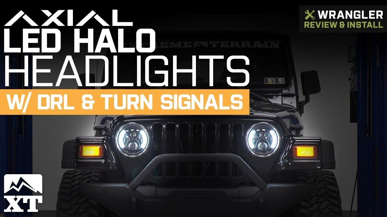 Jeep Wrangler Axial LED Halo Headlights - DRL & Turn Signals (1997-2018 on