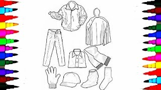 Coloring Pages Boys Clothes Jackets and Hat Coloring Book Videos For Children Learning Colors