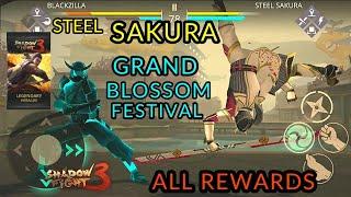 Shadow Fight 3 steel Sakura | grand Blossom Festival | all Rewards