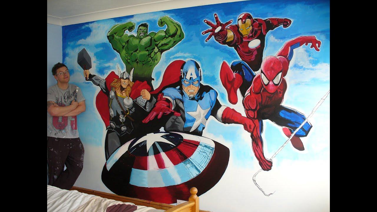 the avengers plus spiderman mural by drew allan ( drews ...