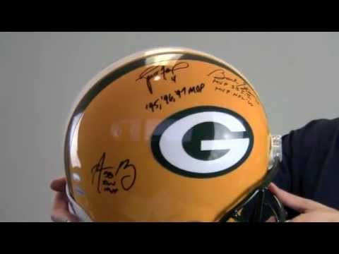 Brett Favre, Bart Starr & Aaron Rodgers Signed Limited Edition Proline Helmet - LE of 45 - SM Holo