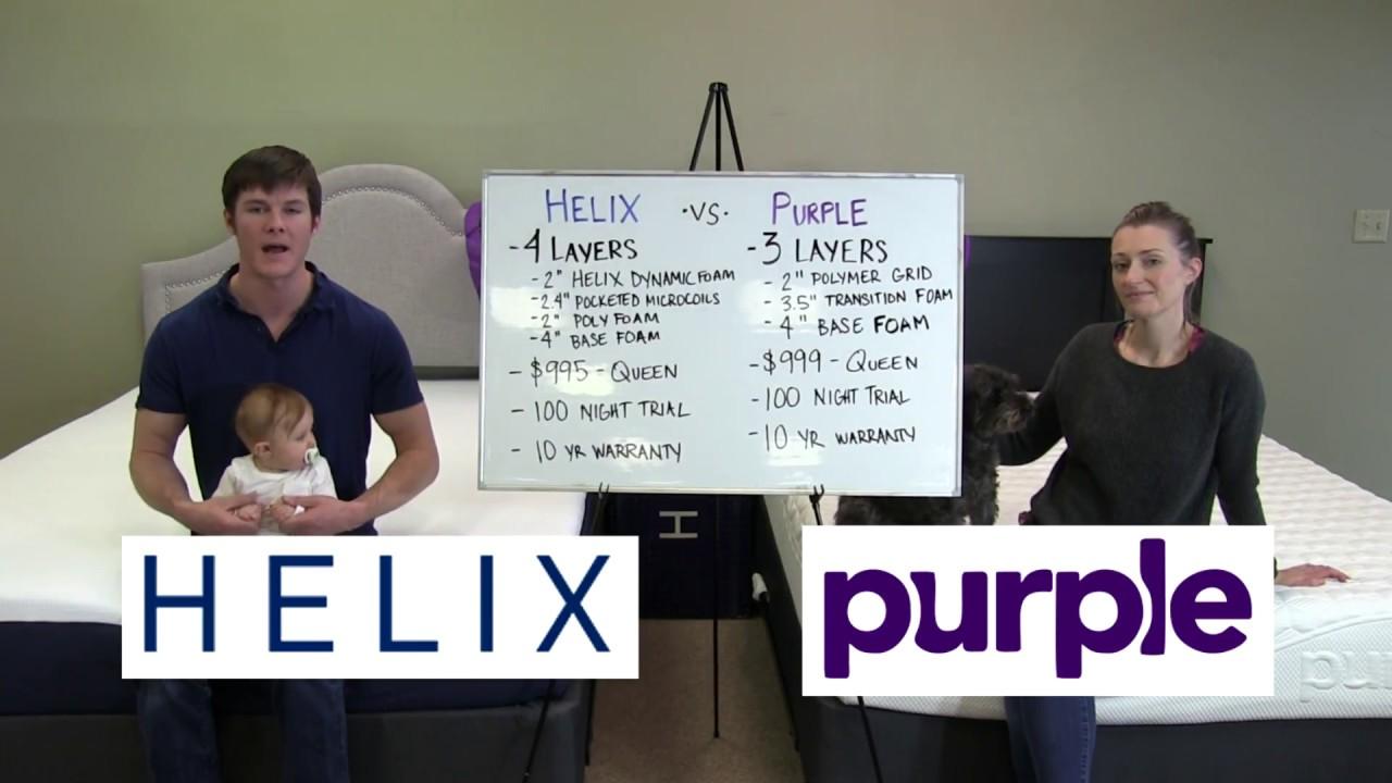 helix mattress vs purple mattress comparison 2017 - youtube