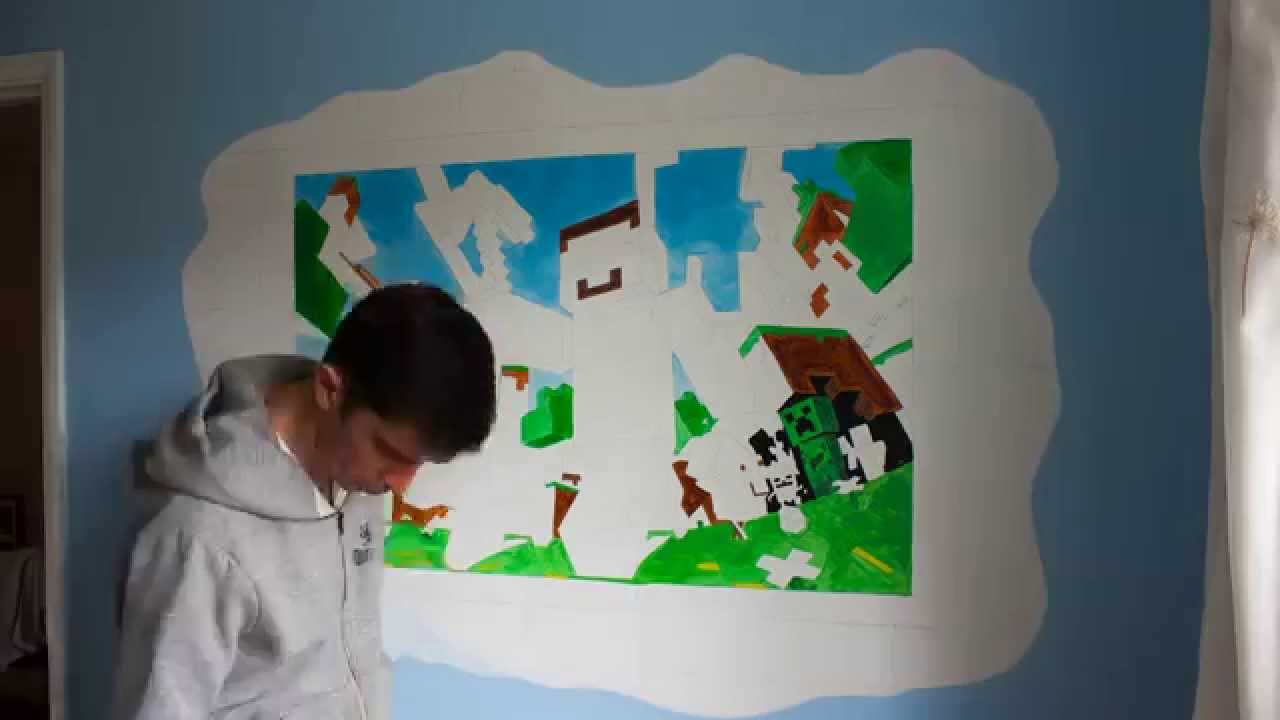 Minecraft Wall Mural Time Lapse   YouTube