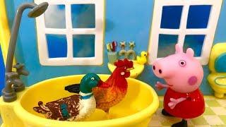 Swinka Peppa po Polsku ♦ Bajka dla dzieci ♦ Kura i kaczka w wannie
