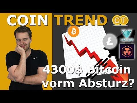😱4300$ Bitcoin vorm Absturz? ✈️LTC, Verge & Monaco fliegen NEO leicht aufwärts