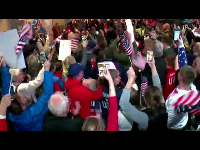 Gold medal winning U.S. Olympic curling team welcomed home by cheering fans