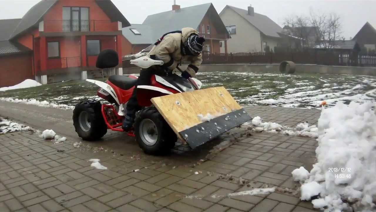 2013 12 12 Sniego Valytuvas Atv Quad Bike 110cc Test Plowing