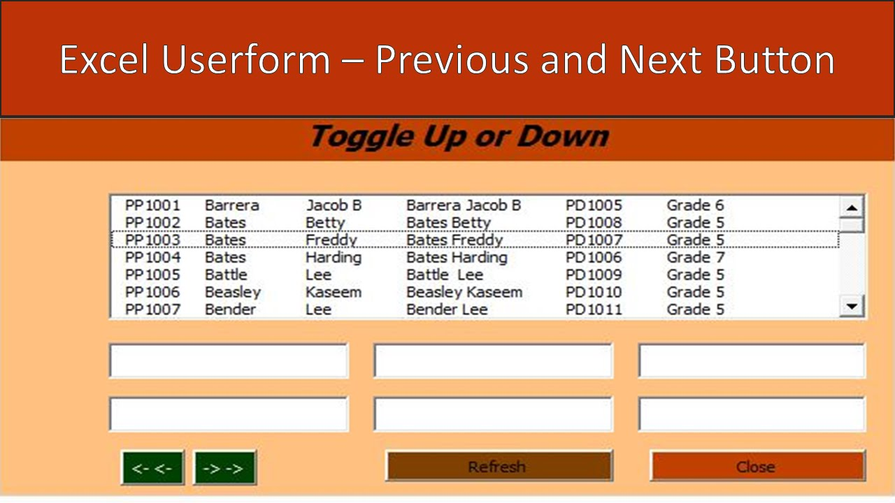 Excel Userform VBA  Previous and Next Button  YouTube