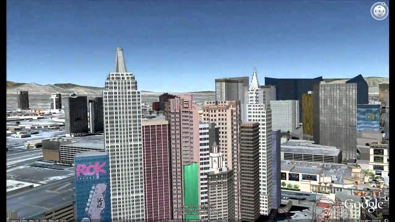 Las Vegas Buildings In Google Earth YouTube - Google map nyc hotels