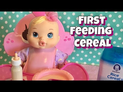 Baby Alive messy first feeding of rice cereal adoption baby alive brea