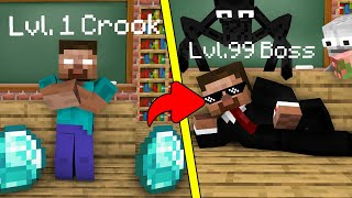 Monster School : Lv.1 Crook vs Lv.99 Boss Herobrine - Minecraft Animation