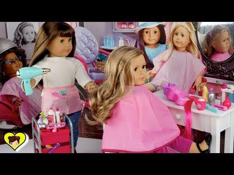 Salon de Belleza y Peinados Para Mi Muñeca American Girl - Rutina de Escuela