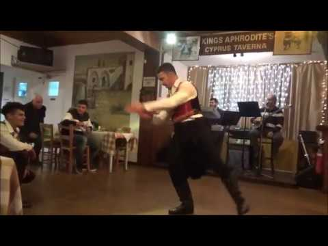 Live traditional Greek music and dancing at Aphrodite restaurant in Paphos, Cyprus