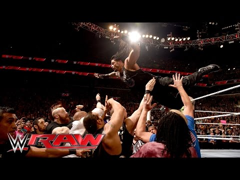 Thumbnail: Roman Reigns sparks a chaotic brawl with Triple H: Raw, March 28, 2016