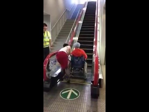 Wheelchair accessible escalators