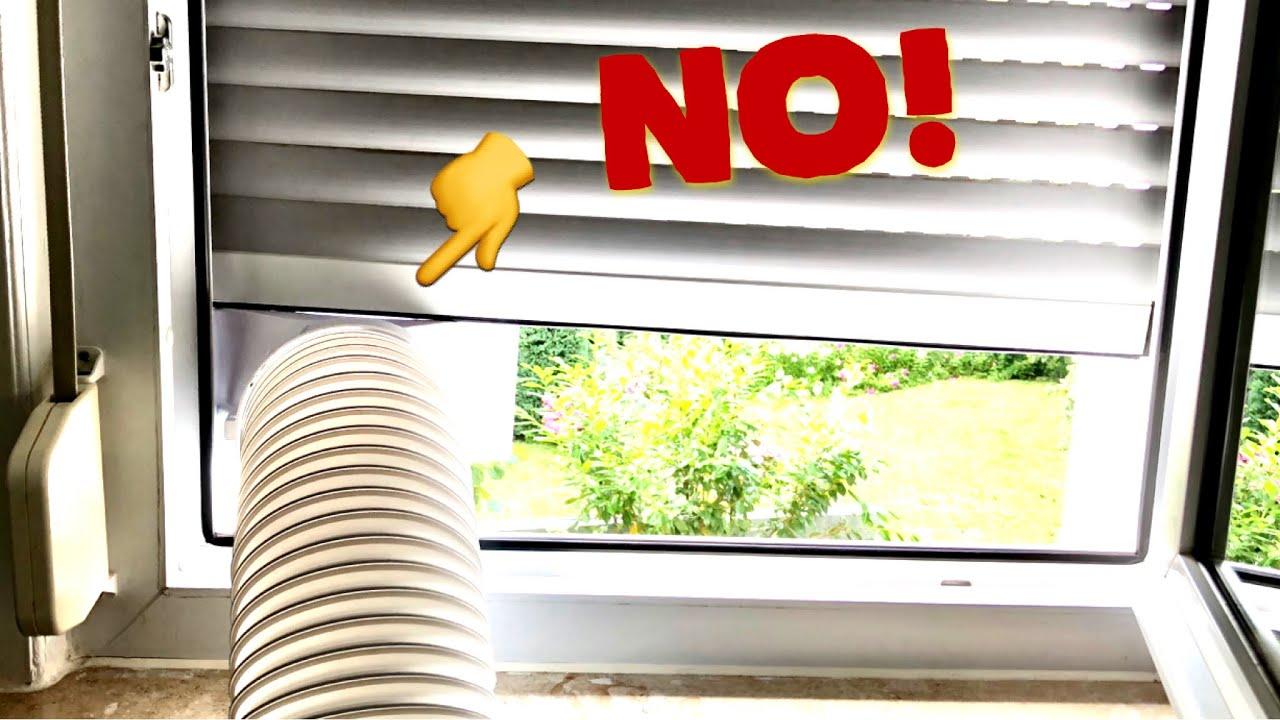 klimaanlage abluftschlauch klimager t fensterdurchf hrung rollo diy airlock hot air stop. Black Bedroom Furniture Sets. Home Design Ideas