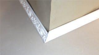 Как правильно вырезать внешний (наружный) угол на плинтусе или багете, без приспособлений?