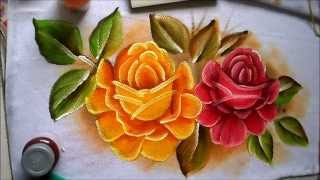 Como pintar rosas vermelha e amarela
