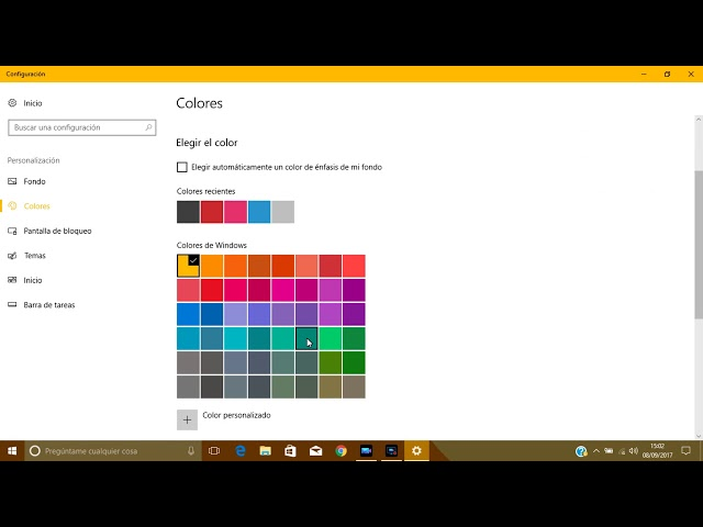 Cambiar color inicio y ventanas en Windows 10