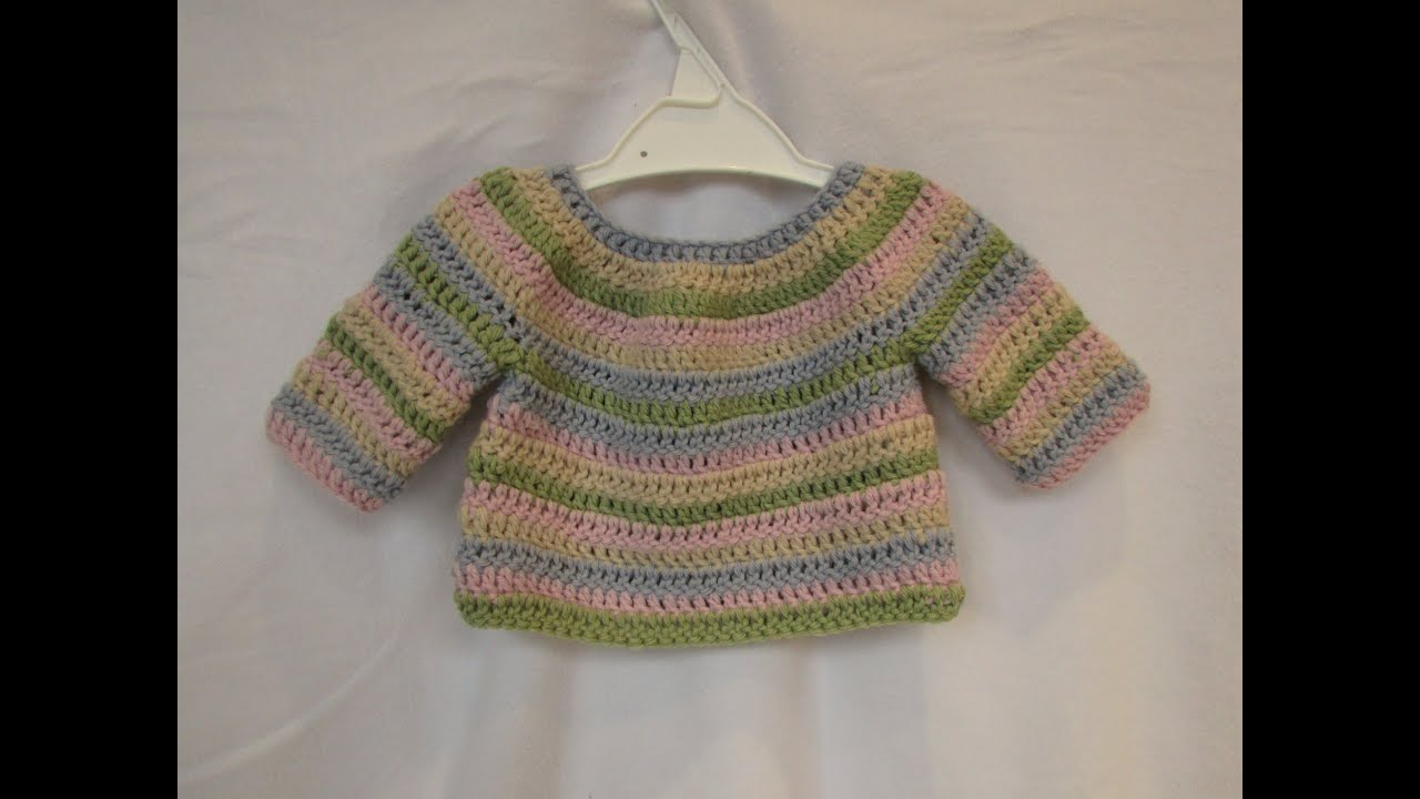 How to crochet a simple striped baby / child\'s sweater tutorial ...