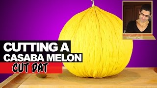 Cutting a Casaba Melon