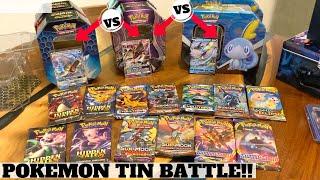 POKEMON TIN BATTLE! Gyarados HIDDEN FATES vs Necrozma GX VS Galar Partners Tin Inteleon V