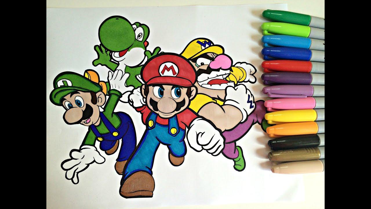 Coloring mario family mario luigi wario yoshi for Mario and luigi and yoshi coloring pages