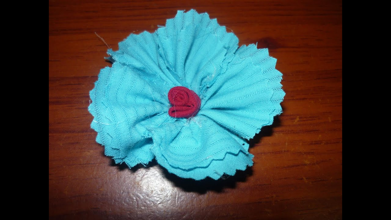 Como hacer flor de tela how to make fabric flower - Manualidades de tela faciles ...