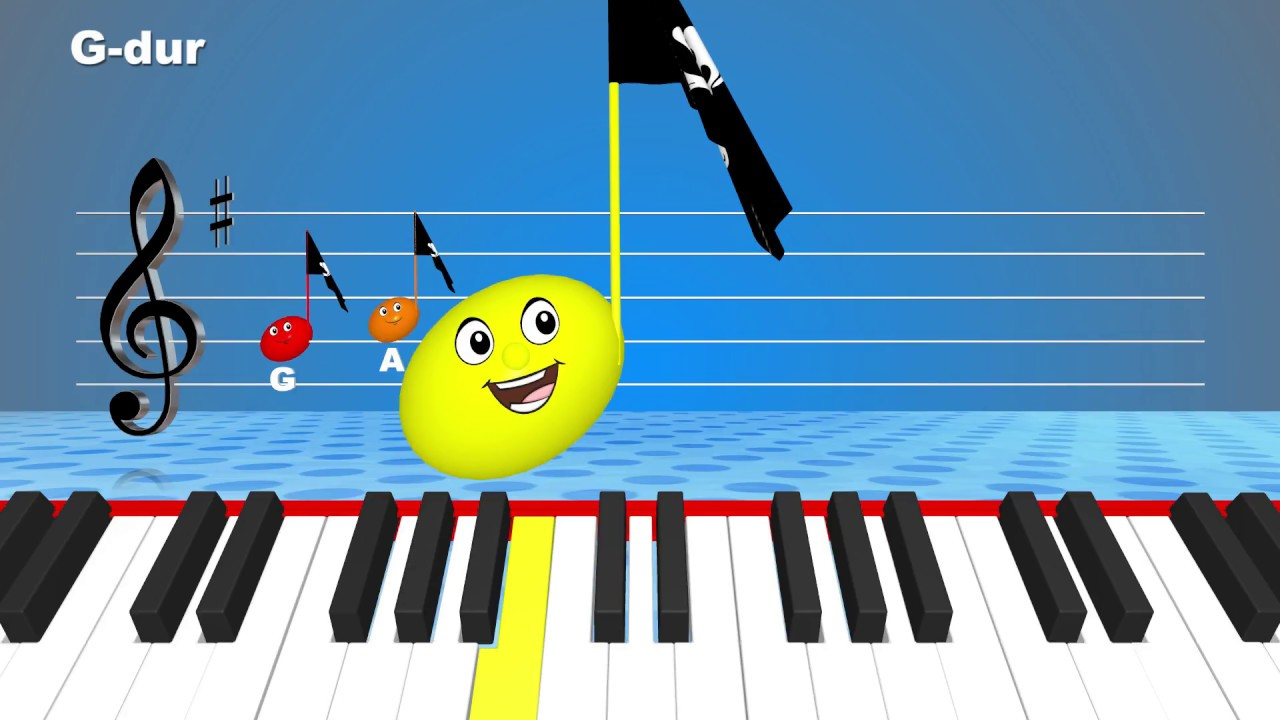 G major diatonic scale for children. Music Theory.