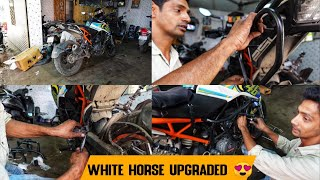 Major Upgrade To My White Horse 😎 - Installing Hyperrider Crash Guards & Saddle Stay For My Duke 250