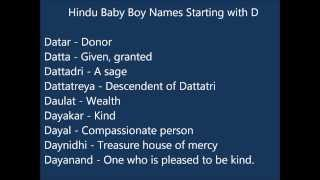 Indian Hindu Baby Boy Names starting with D