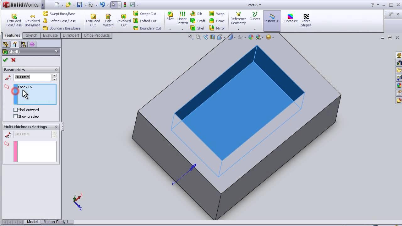 30- SolidWorks Beginner TUTORIAL: SHELL - YouTube
