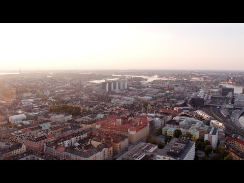 3369. Stockholm City (Stockholm downtown) Drone Stock Footage Video