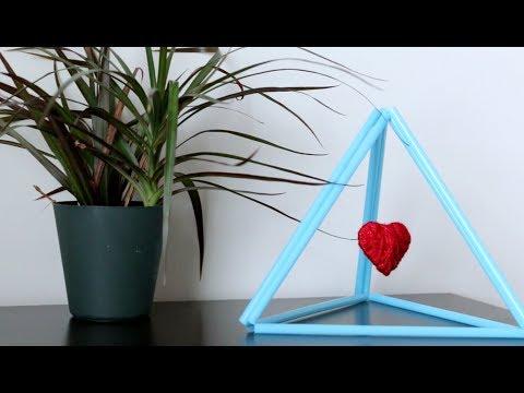 DIY Heart Showpiece From Straws and Yarn     Hanging Heart   DIY Room Decor