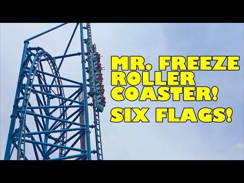 Mr. Freeze Reverse Blast Roller Coaster Front Seat POV Six Flags St. Louis