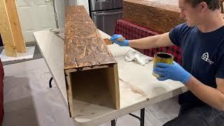 How to DIY- Farmhouse Faux Log Beam