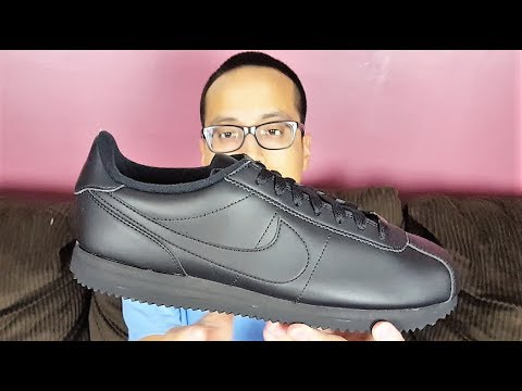 new york lace up in later Nike Cortez Basic Leather Triple Black Review!