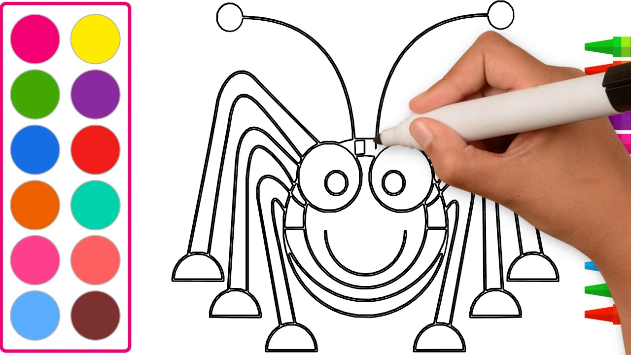How to draw and color Spider for kids - YouTube