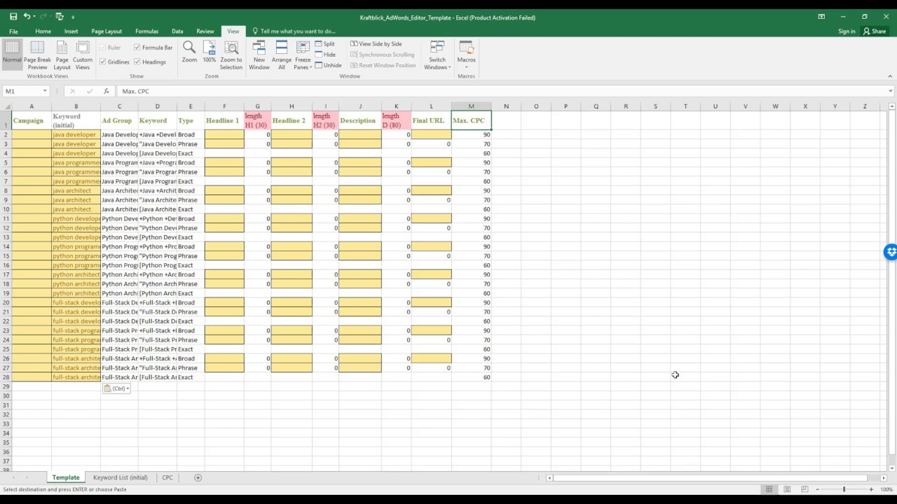 create adwords campaigns faster with this excel template. Black Bedroom Furniture Sets. Home Design Ideas