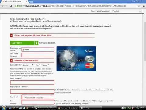 How To Get A Payoneer Mastercard Credit Card + 25 $ Free 2014